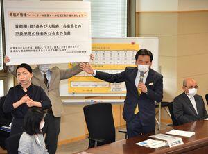新型コロナウイルスの対策本部会議で、今後の支援策や感染予防策を説明した山口祥義知事=8日午後、佐賀県庁