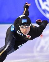 女子1000メートル 1分12秒09の世界新で優勝した小平奈緒=ソルトレークシティー(共同)