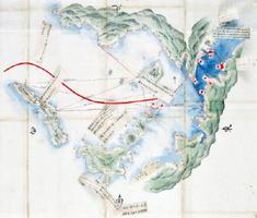 台場を築く際に使われた「長崎港内外台場図」。中央の赤い曲線が外国船の入港ルートで、赤線の左下に伊王島、右上に神ノ島が描かれている(公益財団法人鍋島報效会所蔵)