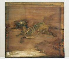中国に古くから伝わる霊獣「麒麟」が描かれた中尾神社の天井絵