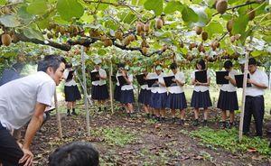 キウイ栽培の現状について説明を聞く佐賀農業高生たち=太良町内