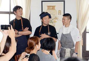 トップシェフデー第4弾で腕を振るった(左から)井手寬康さん、長谷川在佑さん、清水将さん=佐賀市のさがレトロ館で開催中の「ユージアムサガ」