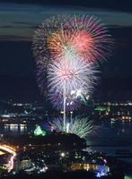 【鏡山から】次々に打ち上げられた花火や水中花火と唐津の夜景との競演=鏡山展望台から撮影(長時間露光)