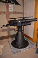 鯨組主中尾家屋敷に新たに展示されている小型沿岸捕鯨で使用した捕鯨砲=唐津市呼子町