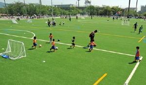 人工芝に張り替えられた佐賀県総合運動場球技場でのサッカーイベントで駆け回る幼稚園児=佐賀市