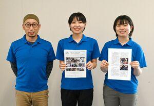 被災地支援を続けるOKBASEの岡部由紀夫講師(左)と学生たち=神埼市の西九州大神埼キャンパス
