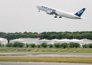 成田空港A滑走路脇の芝生にお目見えした「TOKYO2020」の文字=18日午後