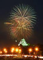 夜空を焦がす花火とライトアップされた唐津城が競演。手前は舞鶴橋=15日夜、唐津市