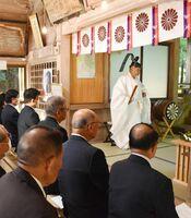 龍造寺長信ゆかりの地で開かれた記念行事=多久市多久町の多久神社