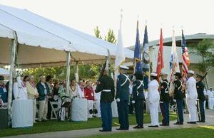 7日、真珠湾攻撃から76年を迎え、米ハワイで行われた追悼式典(共同)