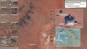 中国軍が内モンゴル自治区で新設を進めているICBM用とみられる発射施設の衛星写真=(ハンス・クリステンセン氏提供、共同)