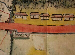 「小侍番所名絵図」の一部分(多久市郷土資料館蔵)。 門のそばの建物に「御番所」と書かれている