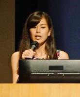 モデルとしても活動し、「農業のイメージを覆したい」と語る奥園淑子さん=福岡市博多区の福岡国際会議場