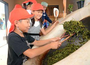 茶葉の釜いりを体験する子ども=嬉野市の茶業研修施設「嬉茶楽館」