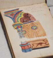 辰野金吾が欧州滞在中に建物を巡り、残したスケッチブック「滞欧野帳」。鉛筆で描かれ、中には彩色のものも(個人蔵/明治13-16年)