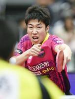 男子シングルスで優勝した水谷隼=丸善インテックアリーナ大阪