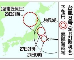 台風8号、27日にも上陸