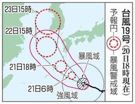 台風19、20号相次ぎ西日本へ