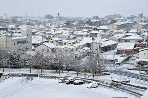 積雪で白く染まった佐賀市内=8日午前8時21分、佐賀市天神