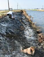 約30メートルにわたり農業用ビニールなどが焼却されたのり面=佐賀市川副町