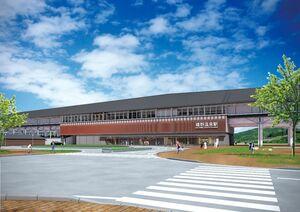 嬉野温泉駅の完成イメージ(鉄道・運輸機構提供)