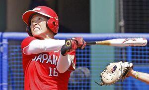 日本―オーストラリア 4回、藤田が2ランを放つ=福島県営あづま球場
