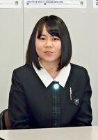 「高校生平和大使」選考会への応募を呼び掛けた佐賀県8代目大使の山之上飛鳥さん=県庁