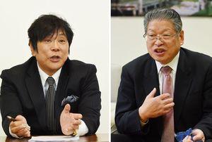 (右から届け出順)神埼市長選挙・松本茂幸氏、大仁田厚氏