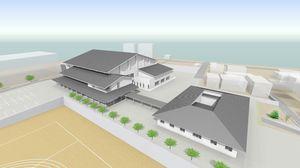 嬉野市総合体育館(左)とうれしの市民センターの完成予想図(提供)