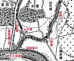鳥栖市水屋付近の明治37年(1904年)国土地理院地図(地名は修正と加筆しています)」