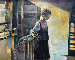 洋画部門で美術協会賞に選ばれた高津愛加さんの「とける少女」