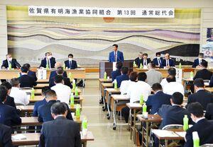 新組合長が決まらず、閉会した佐賀県有明海漁協の総代会。その後の理事会でも結論が出なかった=26日、佐賀市の漁協本所