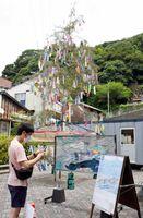 七夕飾りとともにイカのステンドグラスも展示。写真を撮る観光客も=唐津市呼子町の朝市通りいこいの広場
