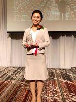 「若い経営者の主張九州大会」で最優秀賞に輝いた松尾聡子さん(関係者提供)