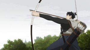 アニメ「鎮西八郎為朝」の主人公が弓を引く場面