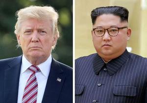 左からトランプ米大統領(ゲッティ=共同)、北朝鮮の金正恩朝鮮労働党委員長(朝鮮通信=共同)