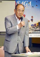 会合であいさつする秀島敏行市長=佐賀市のエスプラッツ