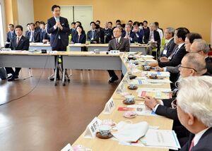 多文化共生について、山口祥義知事や市町の首長らが意見を交わしたGM21ミーティング=杵島郡白石町の道の駅「しろいし」