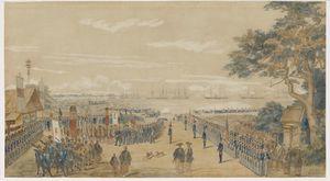 ペリーに随行した画家ウィルヘルム・ハイネが描いた水彩画「ペリー提督の横浜上陸」(明星大学図書館蔵)