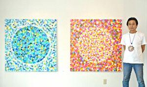 平江潔さんと「結≪celebrate≫」(2枚組、120センチ×240センチ、アクリル)