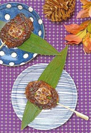 レシピ「蓮根(レンコン)米もち ~五平餅風~」