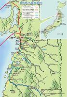 羽州戦争の戦いの跡を示した地図
