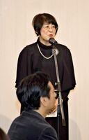 これまでの佐賀VOISSの歩みなどについて話す田口香津子理事長=佐賀市のロイヤルチェスター佐賀