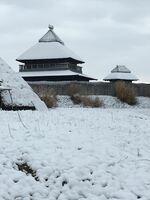 雪が降り積もった復元建物=18日朝、吉野ケ里歴史公園(神埼市郡)