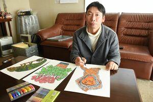 「美術に障害のあるなしは関係ない」と語る加茂賢一さん=唐津市相知町の自宅