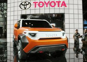 12日、ニューヨーク国際自動車ショーで公開されたトヨタ自動車の試作車「FT―4X」(共同)