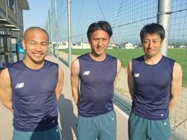 ゲストの水野晃樹選手(中央)とMCの高橋義希選手(右)、吉田豊選手