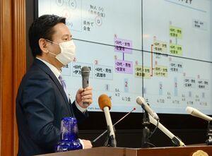 新型コロナウイルスによる国策課題への影響などを説明した山口祥義知事=佐賀県庁