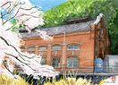 ふるさとスケッチ・山田直行 桜の広滝第一発電所 重ねてい…
