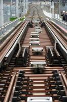 新八代接続線に設置された軌間変換装置。手前が在来線、奥が新幹線=熊本県八代市